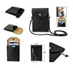 DFV mobile – Universal Litchi Texture Leather Case Pocket Sleeve Bag with Lanyard for Tablet and Smartphone for => LG NITRO HD > Black