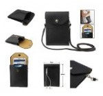 DFV mobile – Universal Litchi Texture Leather Case Pocket Sleeve Bag with Lanyard for Tablet and Smartphone for => LG OPTIMUS EX SU880 > Black
