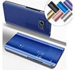 COTDINFOR Samsung S6 Edge Plus Funda Espejo Ultra Slim Ligero Flip Funda Clear View Standing Cover Mirror PC Cover Protectora Bumper Case para Samsung Galaxy S6 Edge Plus Blue Mirror PU MX.